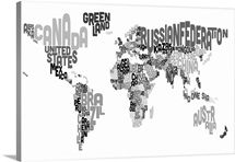 Country Names World Map, Black and White