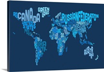Country Names World Map, Blue