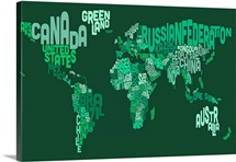Country Names World Map, Green