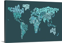 Country Names World Map, Teal