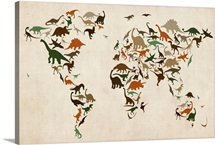 Dinosaur Map of the World