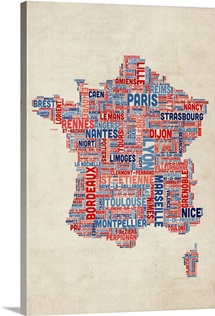 French Cities Text Map, French Colors on Parchment