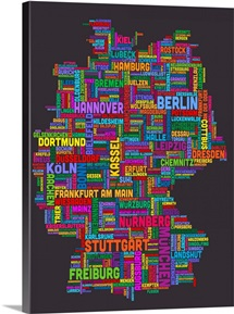 German Cities Text Map, Multicolor on Grey