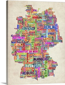 German Cities Text Map, Multicolor on Parchment