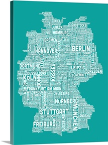 German Cities Text Map, Turquoise