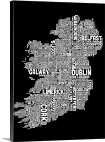 Irish Cities Text Map, Black and White
