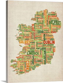Irish Cities Text Map, Irish Colors on Parchment