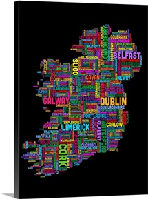 Irish Cities Text Map, Multicolor on Black