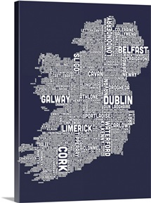 Irish Cities Text Map, Slate