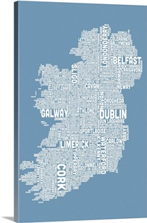 Irish Cities Text Map, Steel