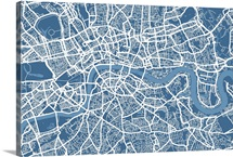 London Map Art Steel Blue