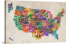 Map of USA showing State names in text