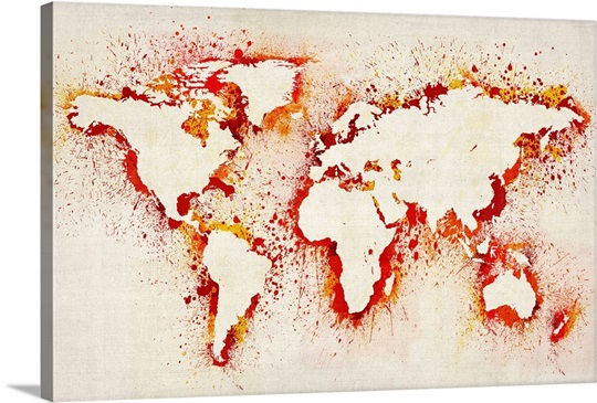 Paint stencil map of the world Photo Canvas Print Great Big Canvas