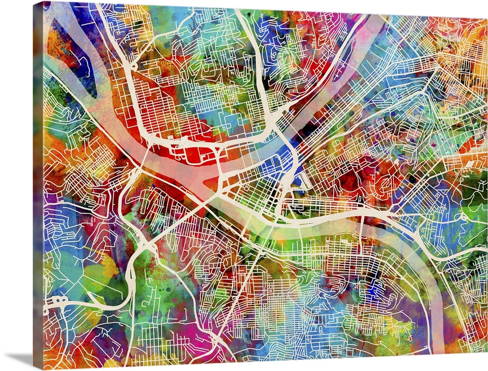 Street map Pittsburgh Pennsylvania