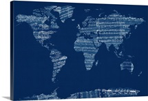Sheet Music World Map, Blue