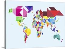 Tangram Abstract World Map