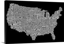 United States Cities Text Map, Black and White