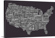 United States Cities Text Map, Grey