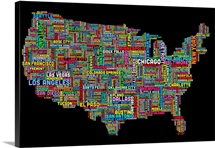 United States Cities Text Map, Multicolor on Black