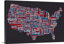 United States Cities Text Map, US Colors on Grey