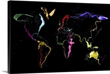 World Map Abstract Paint