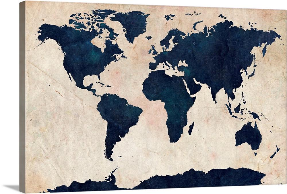 World Map Distressed Navy
