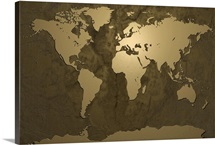 World Map Gold