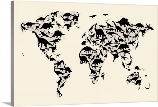 World Map made up of Dinosaurs
