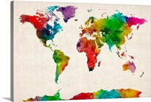 World Map made up of watercolor paint