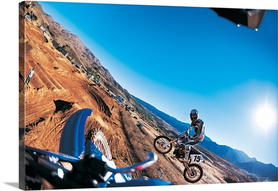 dirt bike shenanigans photo canvas print great big canvas. Black Bedroom Furniture Sets. Home Design Ideas