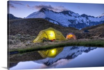 Campers in tents, Cascade Saddle, Mount Aspiring National Park, New Zealand