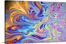 Soap film, colors are due to interference between light waves from front and back