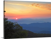 Sunset over the Pisgah National Forest from the Blue Ridge Parkway, North Carolina