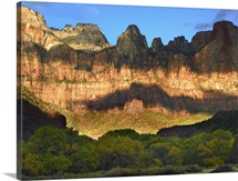 Towers of the Virgin with cloud shadows Zion National Park Utah