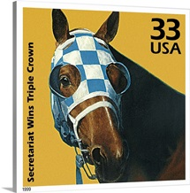 Secretariat Wins Triple Crown Postage Stamp Art by Kazuhiko Sano