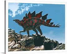 Stegosaurus Postage Stamp Art