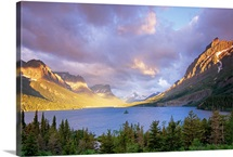 A clearing storm at dawn over Saint Mary Lake