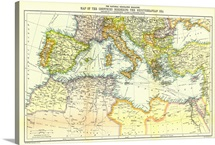 A map of the countries bordering the Mediterranean Sea