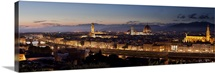 A panoramic shot of Florence at dusk