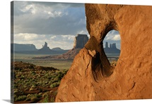 A scenic view of arches in Monument Valley, Arizona