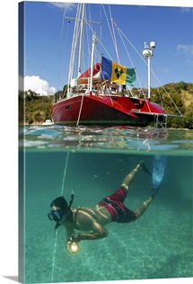 A snorkeler explores clear waters on Peter Island