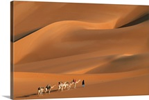 A Tuareg tribesman leads his camels through the dunes of the Sahara