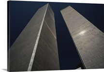 A view of the twin towers of the World Trade Center, New York, New York