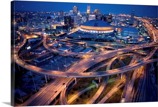 Aerial of the Superdome in the downtown New Orleans