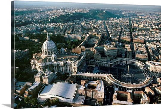 Aerial View Of Saint Peters Basilica And Rome Beyond Photo