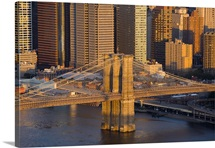 An aerial view of the Brooklyn Bridge and Manhattan buildings, New York