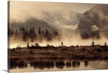 Banff Park landscape with fog and reflections, Banff National Park, Alberta, Canada