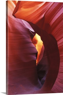Beautiful striated eroded rock in Antelope Canyon