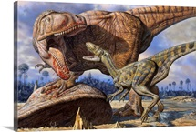 Carcharodontosaurus guards its kill against Deltadromeus
