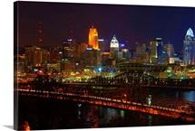 Cincinnati cityscape at night